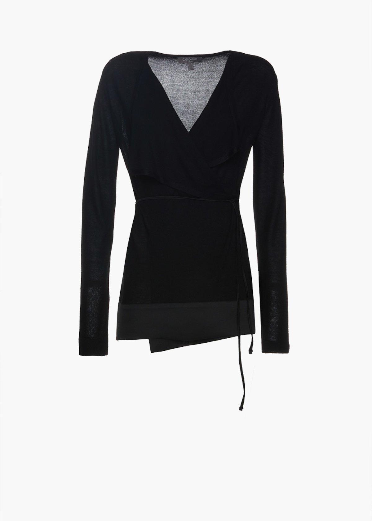Cardigan Camy in maglia con dettaglio satin - Black - Donna