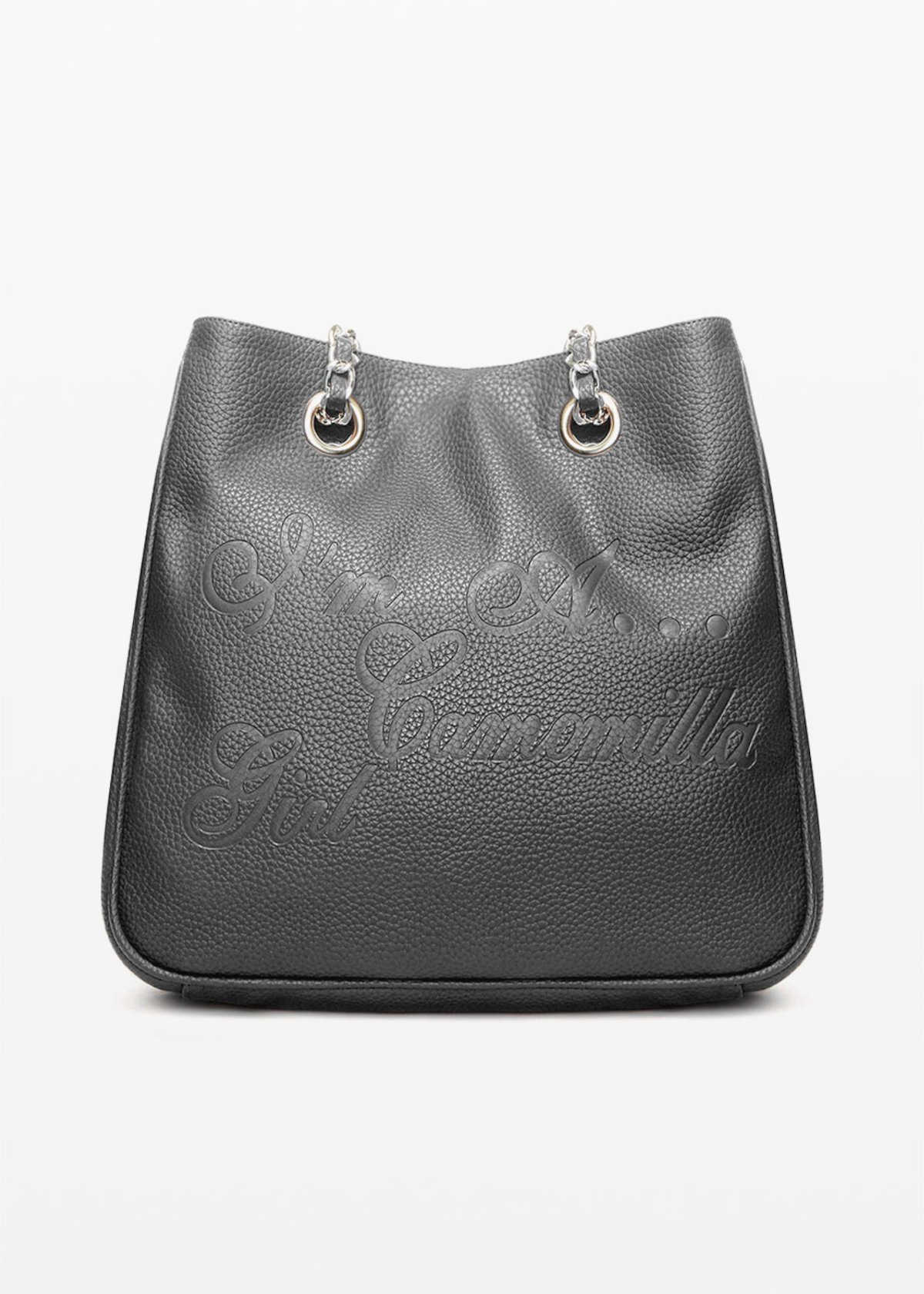 Minicamog faux leather shopping bag with embossed logo - Black - Woman - Category image