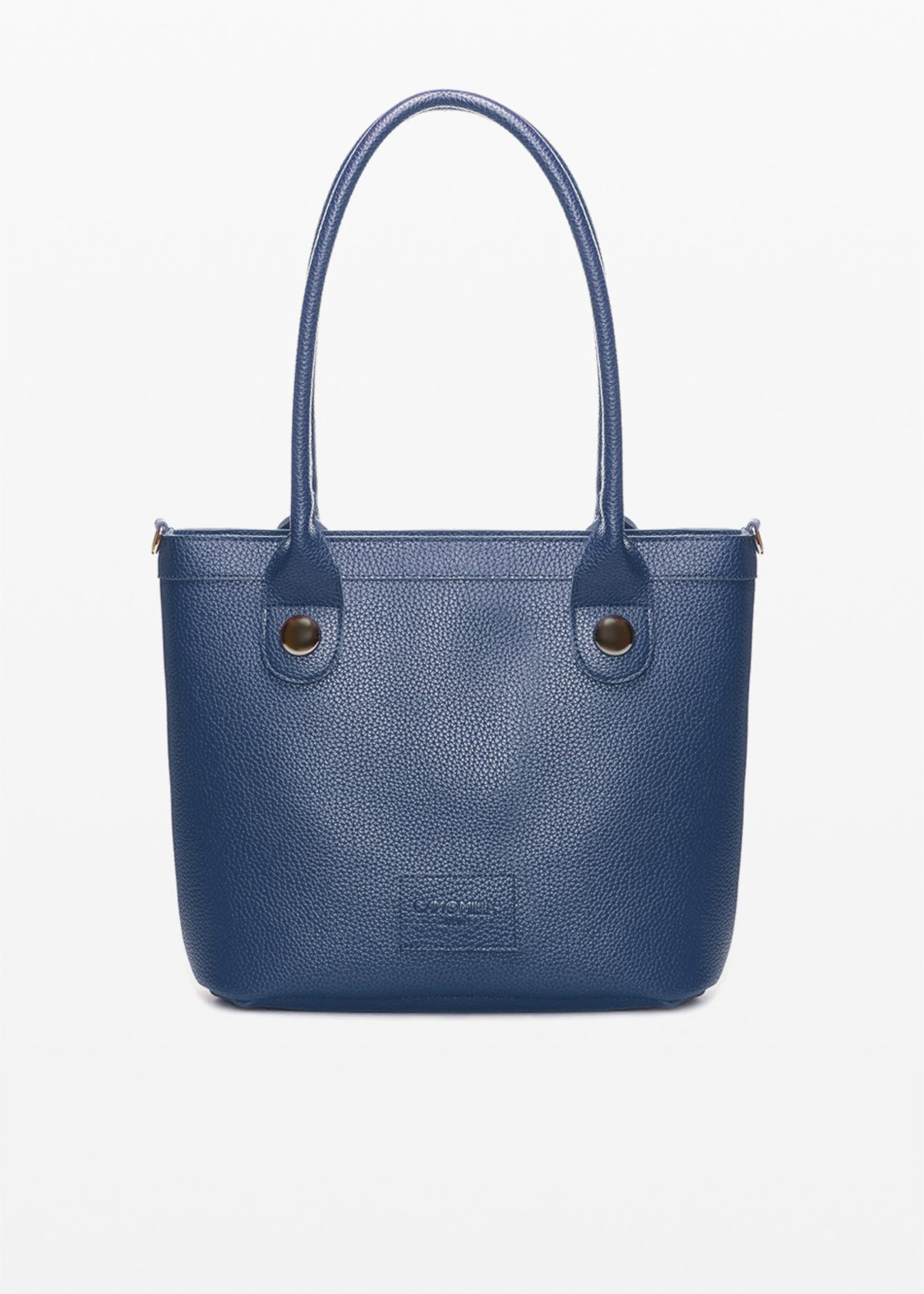 Baggy faux leather bag with metal details - Medium Blue - Woman