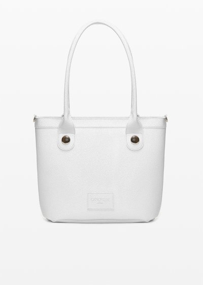 Baggy faux leather bag with metal details