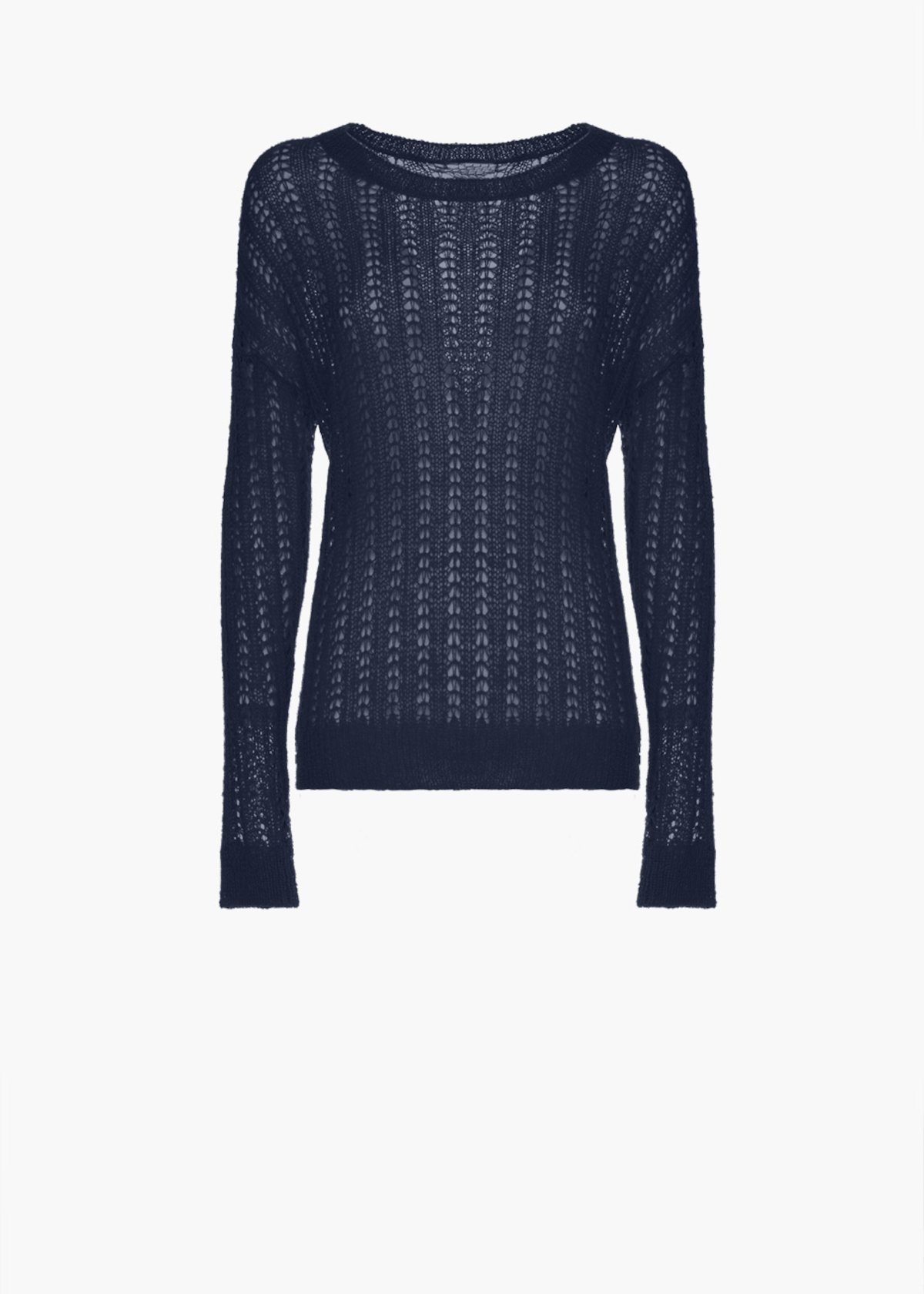 Sweater Merida with round neckline and with long sleeves - Medium Blue - Woman - Category image