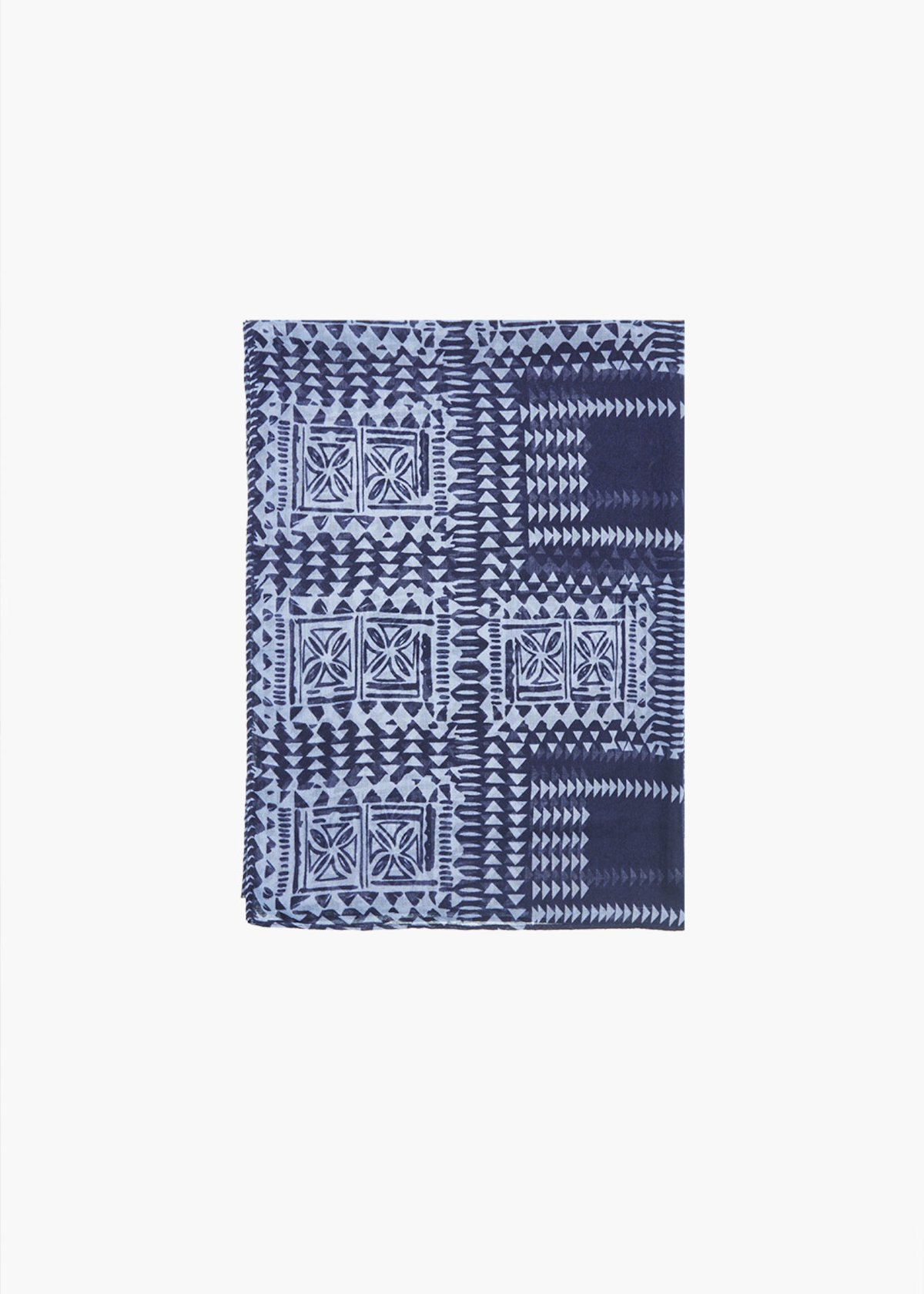Sara geometric print scarf with talk background - Blue / Linen Fantasia - Woman