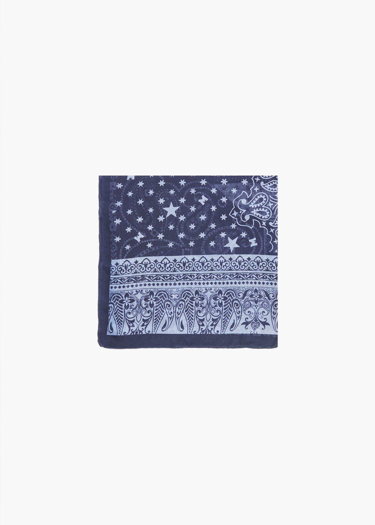 Cashmere print scarf Sagy with linen colour background - Linen / Medium Blue Fantasia - Woman