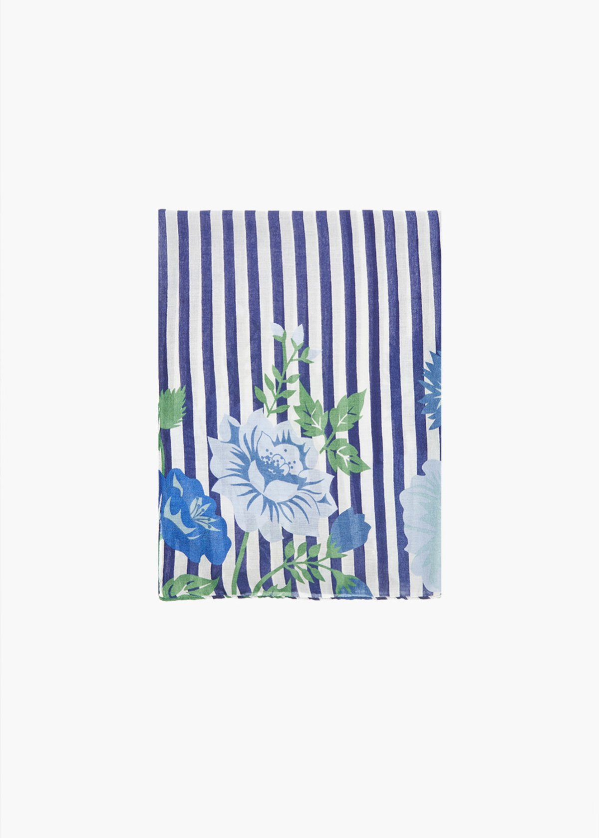 Semmy Scarf stripes fantasy with flower detail - Blue / White Stripes - Woman