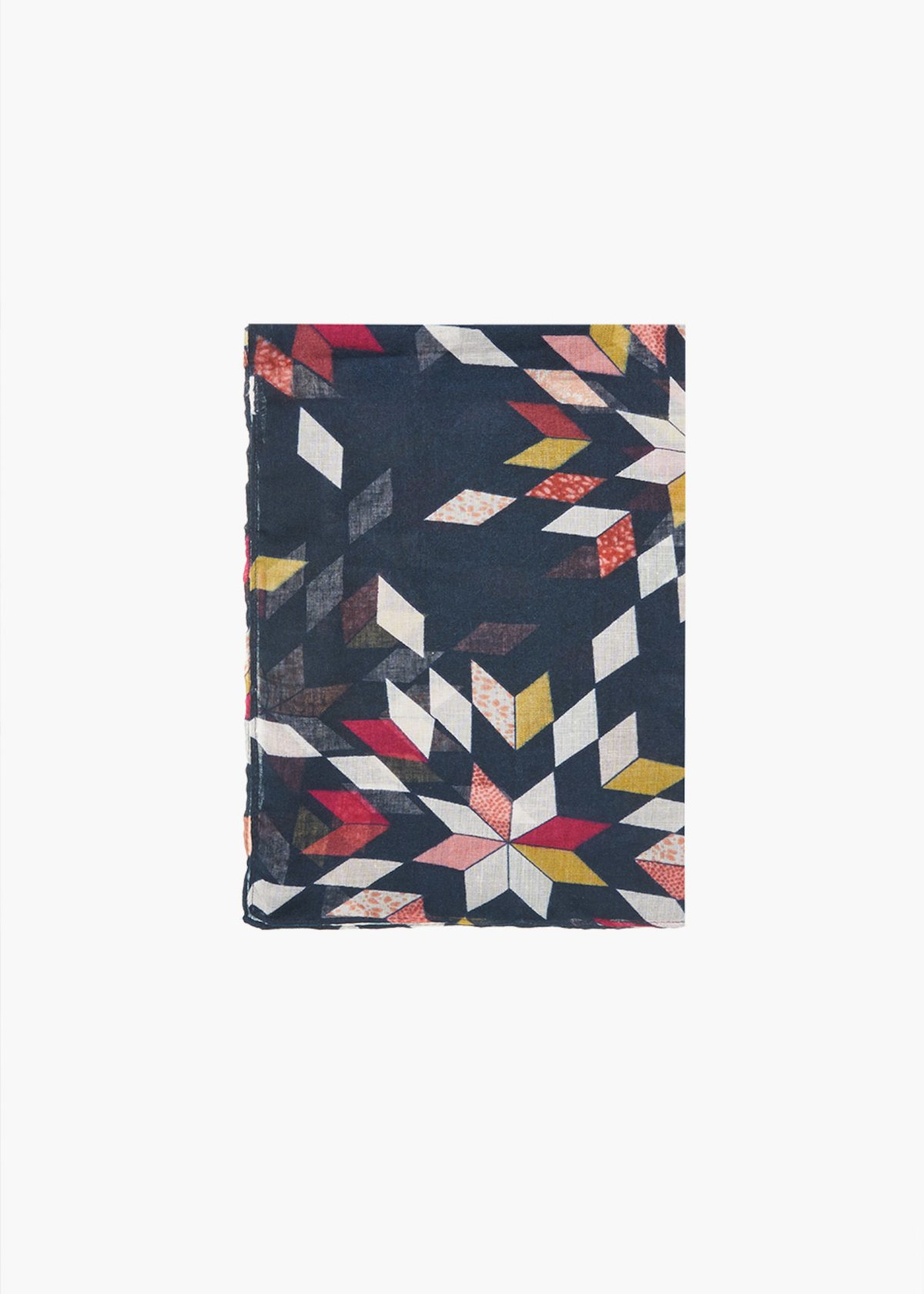 Sherry geometrical print scarf - Dark Blue Fantasia - Woman