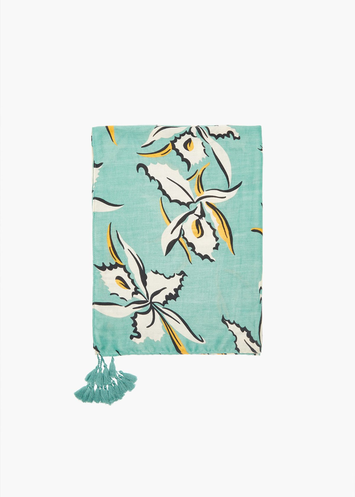 Stasy flower print scarf with tassels - Plant Fantasia - Woman