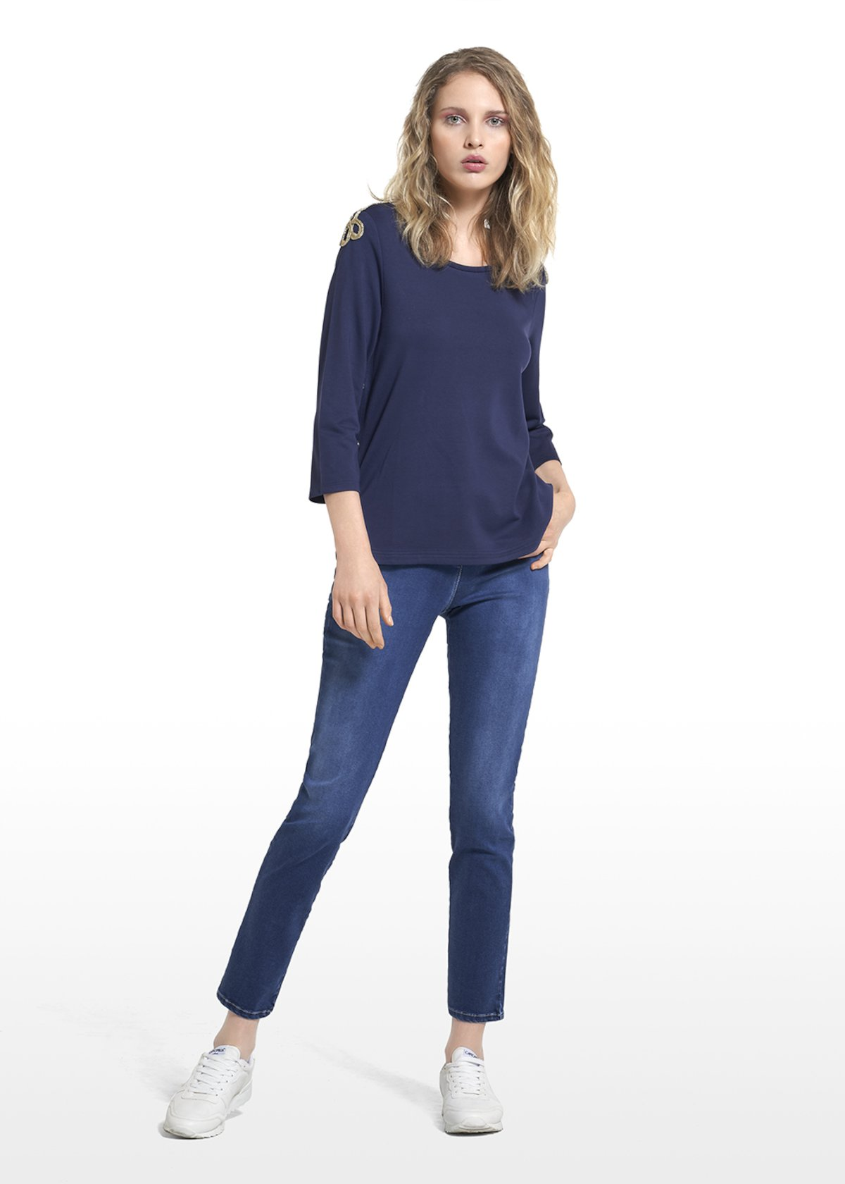 Saint T-shirt with marine style applications on shoulders - Medium Blue - Woman