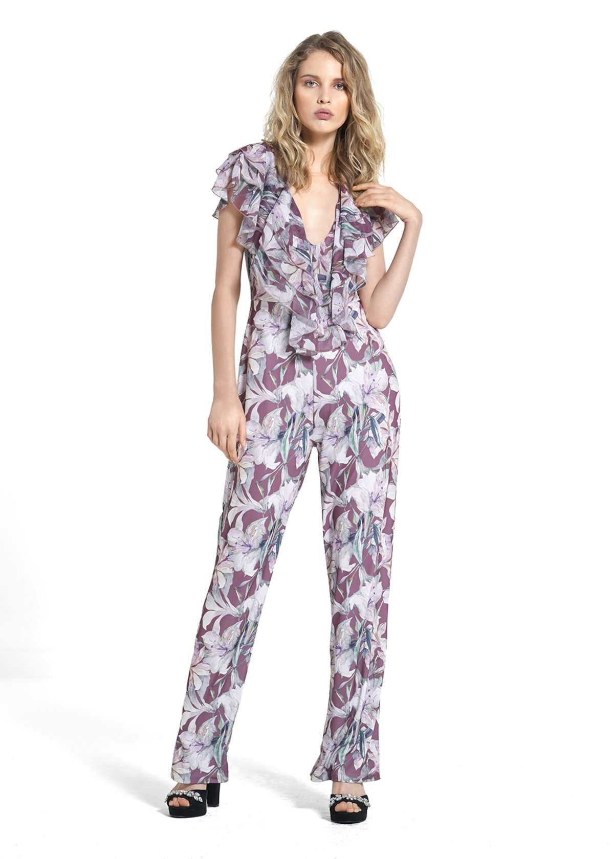All over printed in jersey crêpe jumpsuit Teodor - Morello\ Calcite\ Fantasia - Woman