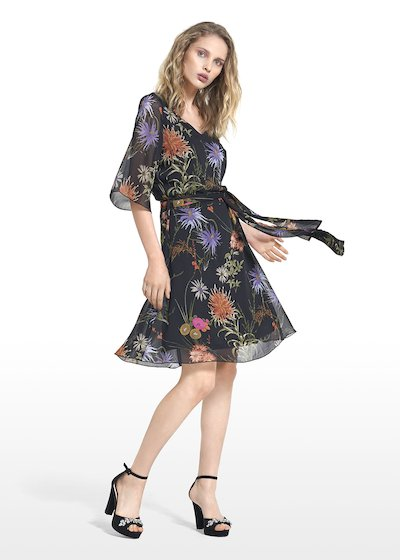Angel dress in floral print georgette