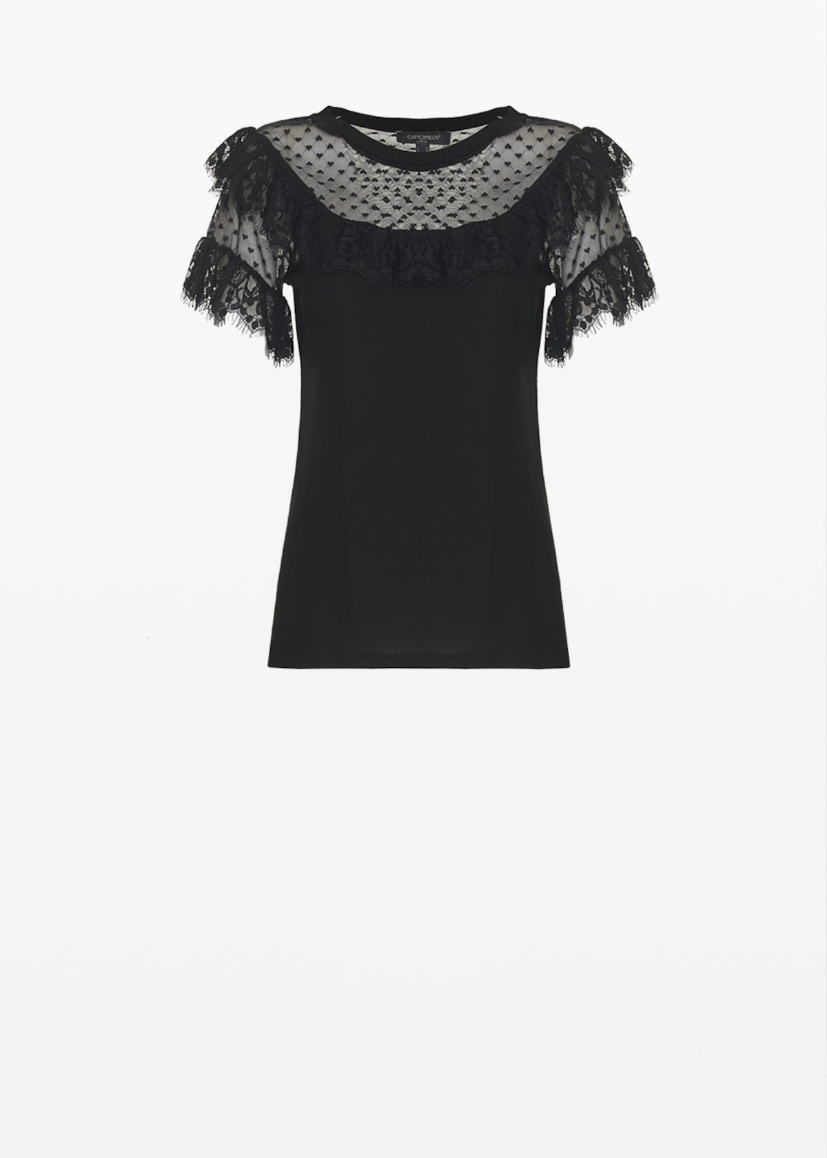 T-shirt Sellie in jersey con rouches in pizzo - Black - Donna - Immagine categoria