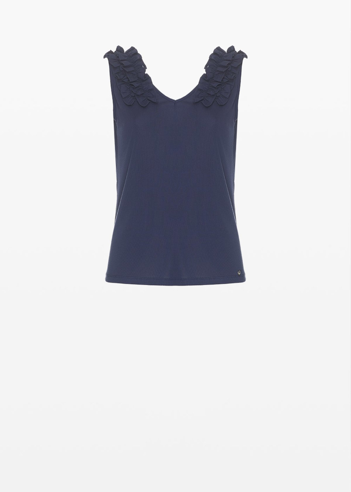 Tiko top with ruffles detail - Medium Blue - Woman