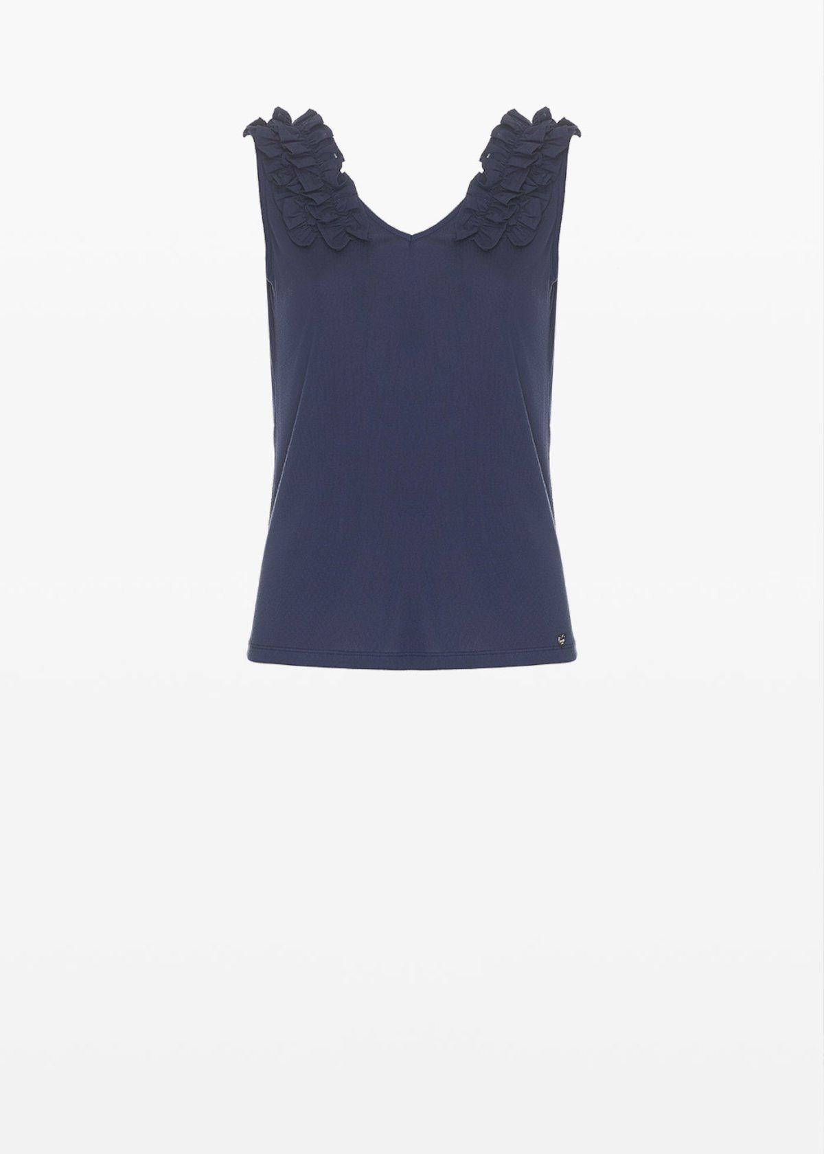 Tiko top with ruffles detail - Medium Blue - Woman - Category image