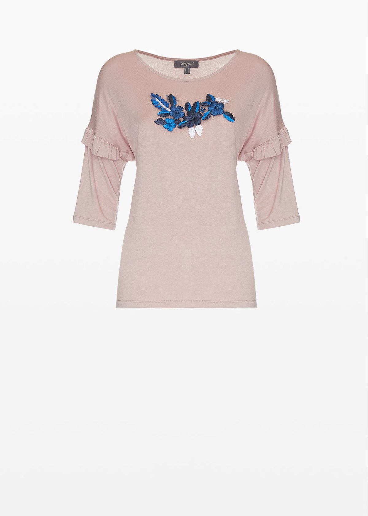 Shady jersey t-shirt with embroidered flowers on the front - Calcite - Woman