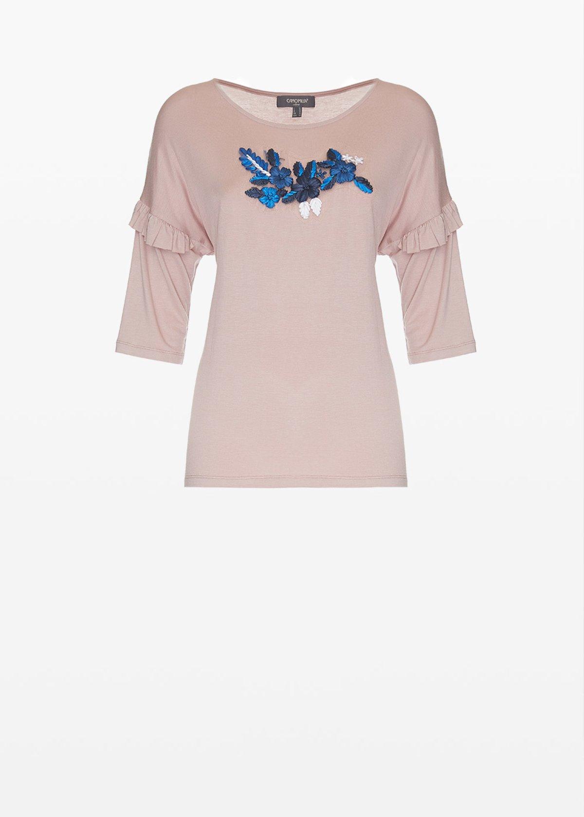 T-shirt Shady in jersey con ricamo flowers sul davanti - Calcite - Donna - Immagine categoria