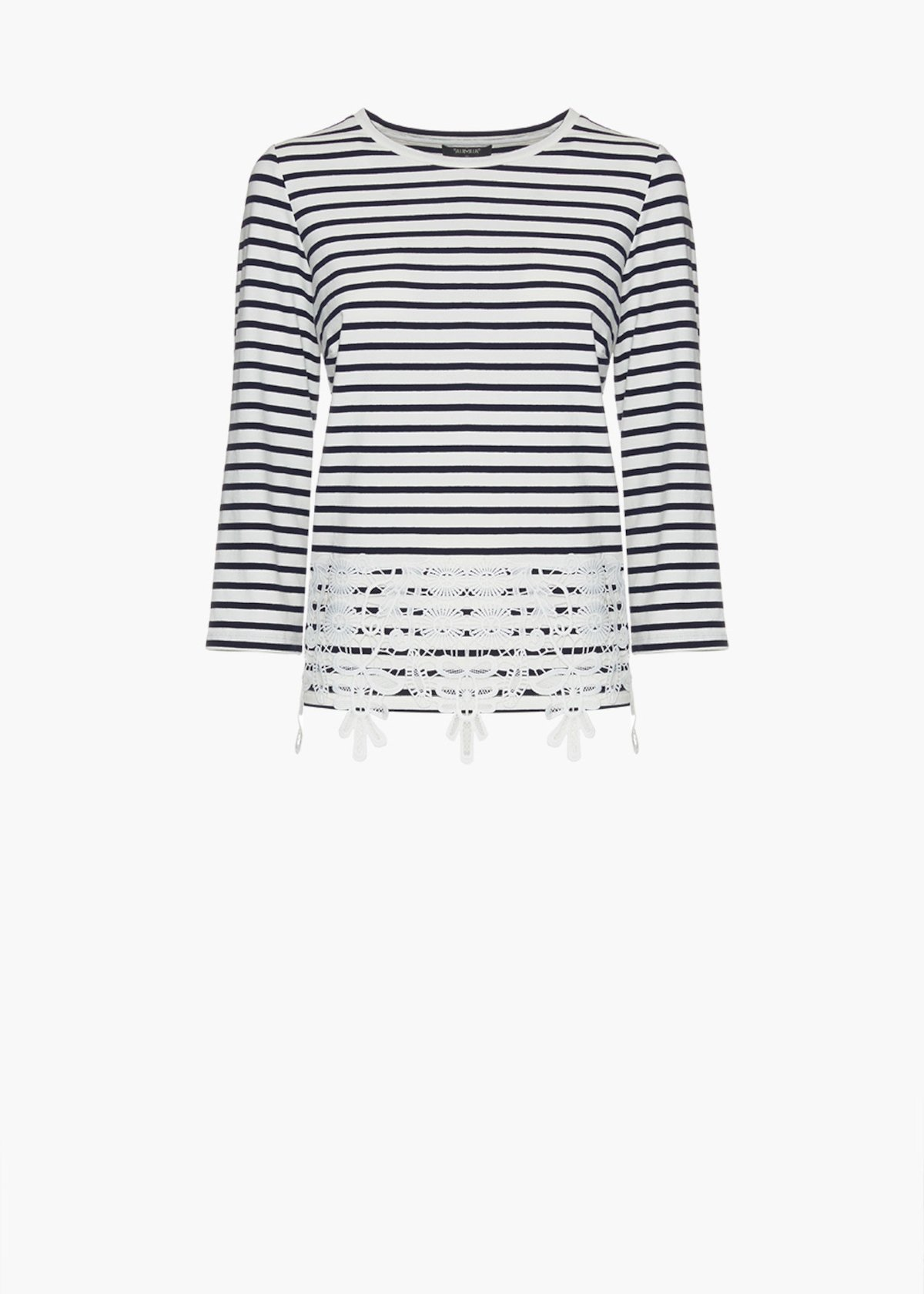 Shelby stripes fantasy t-shirt with lace detail on the bottom - Blue / White Stripes - Woman