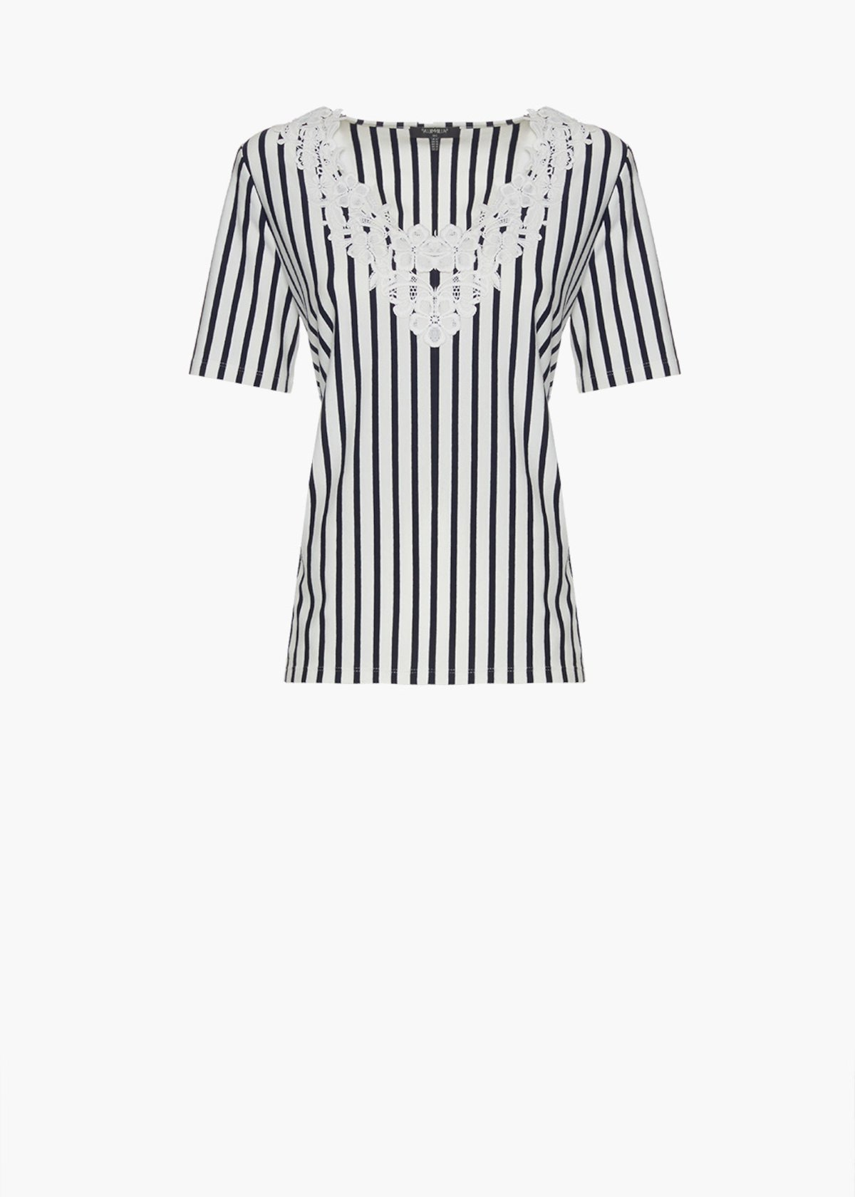 Shiny stripes fantasy t-shirt with flower embroidery at the neckline - Blue / White Stripes - Woman