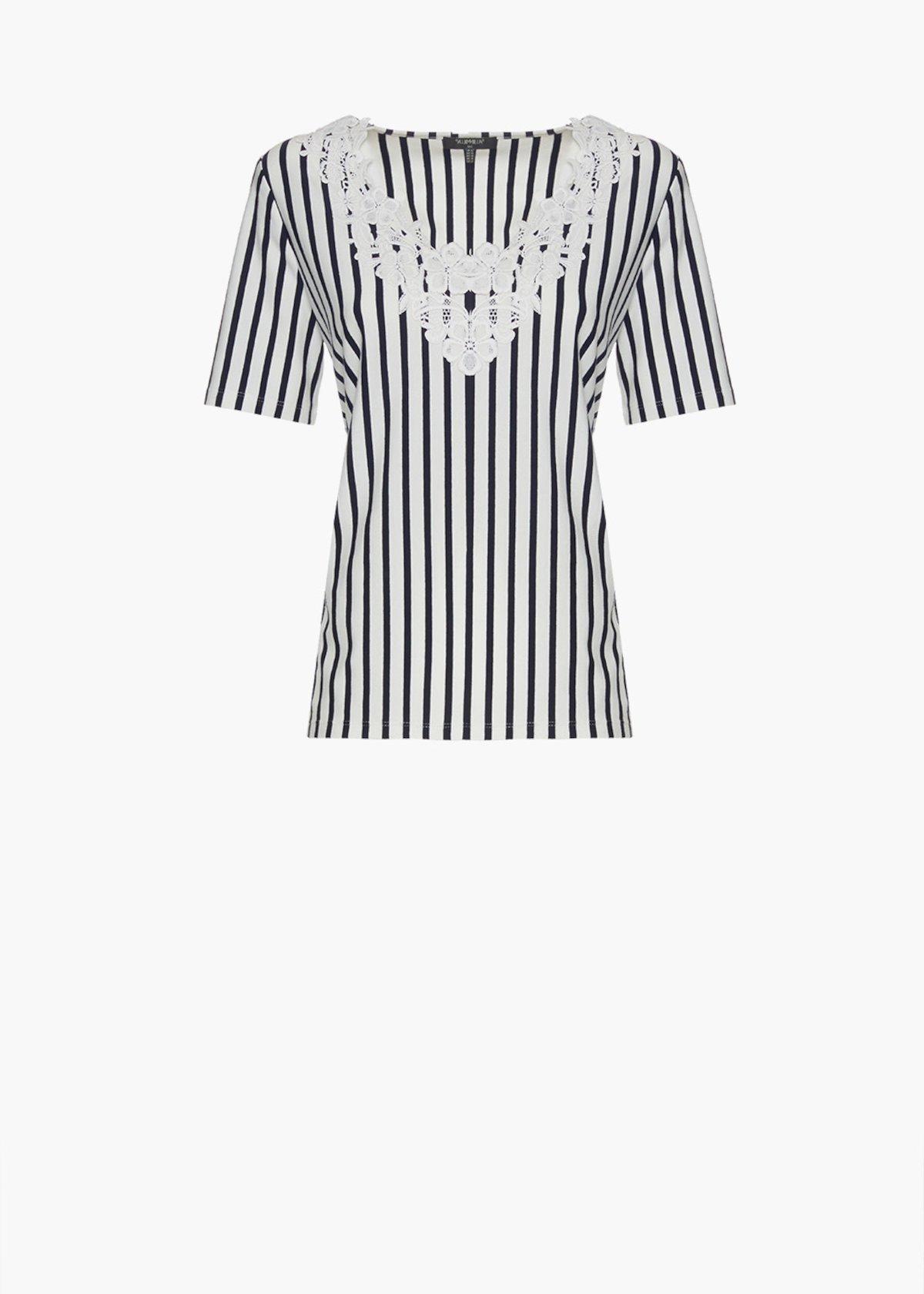 T-shirt Shiny stripes fantasy con ricamo flower allo scollo - Blue / White Stripes - Donna - Immagine categoria