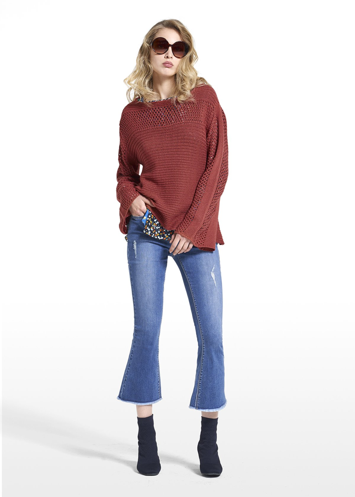 Sweater Mary with boat neckline and long sleeves - Copper_Blue - Woman
