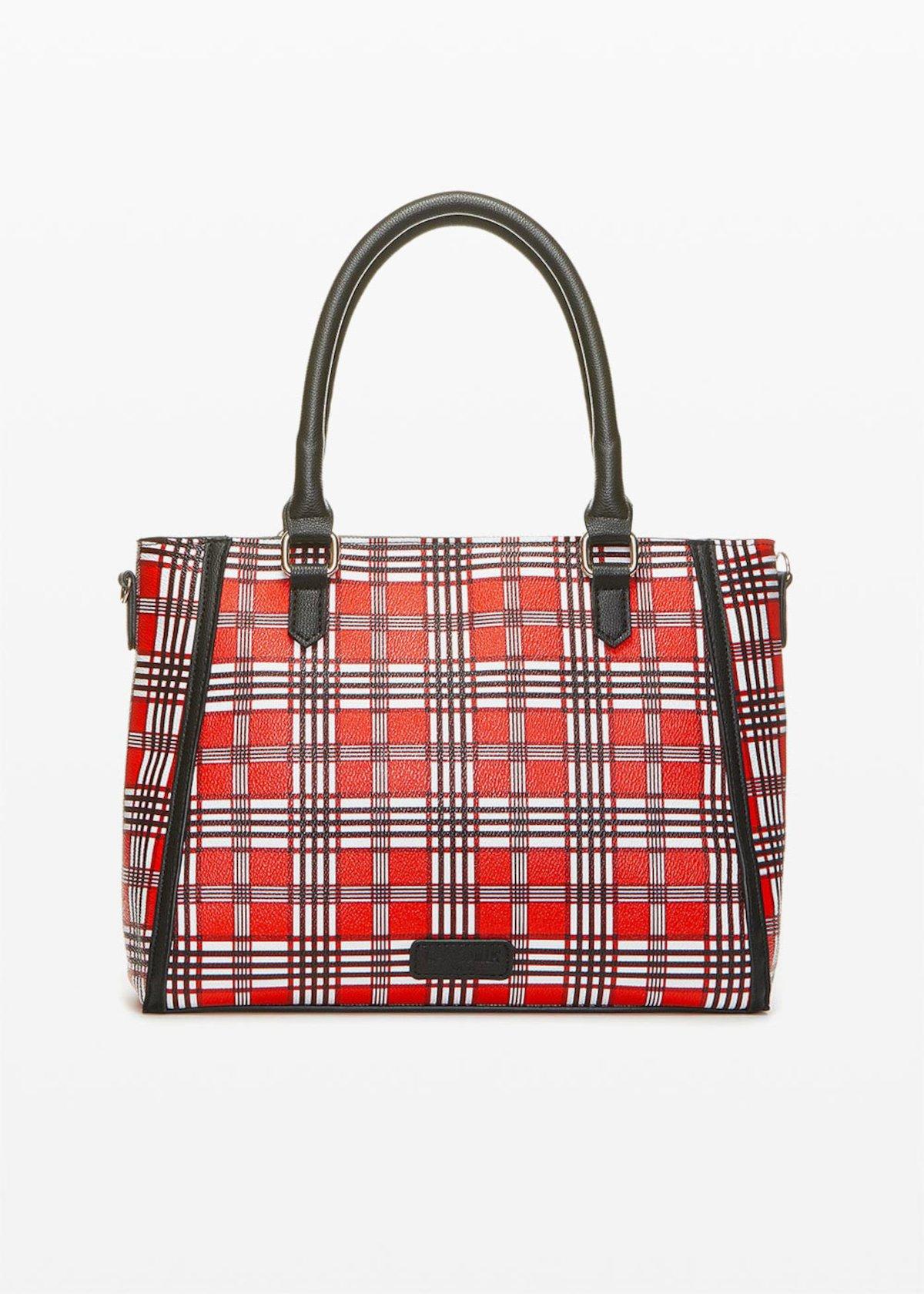 Double materials Borah bag with shoulder strap - Black  Fantasia - Woman
