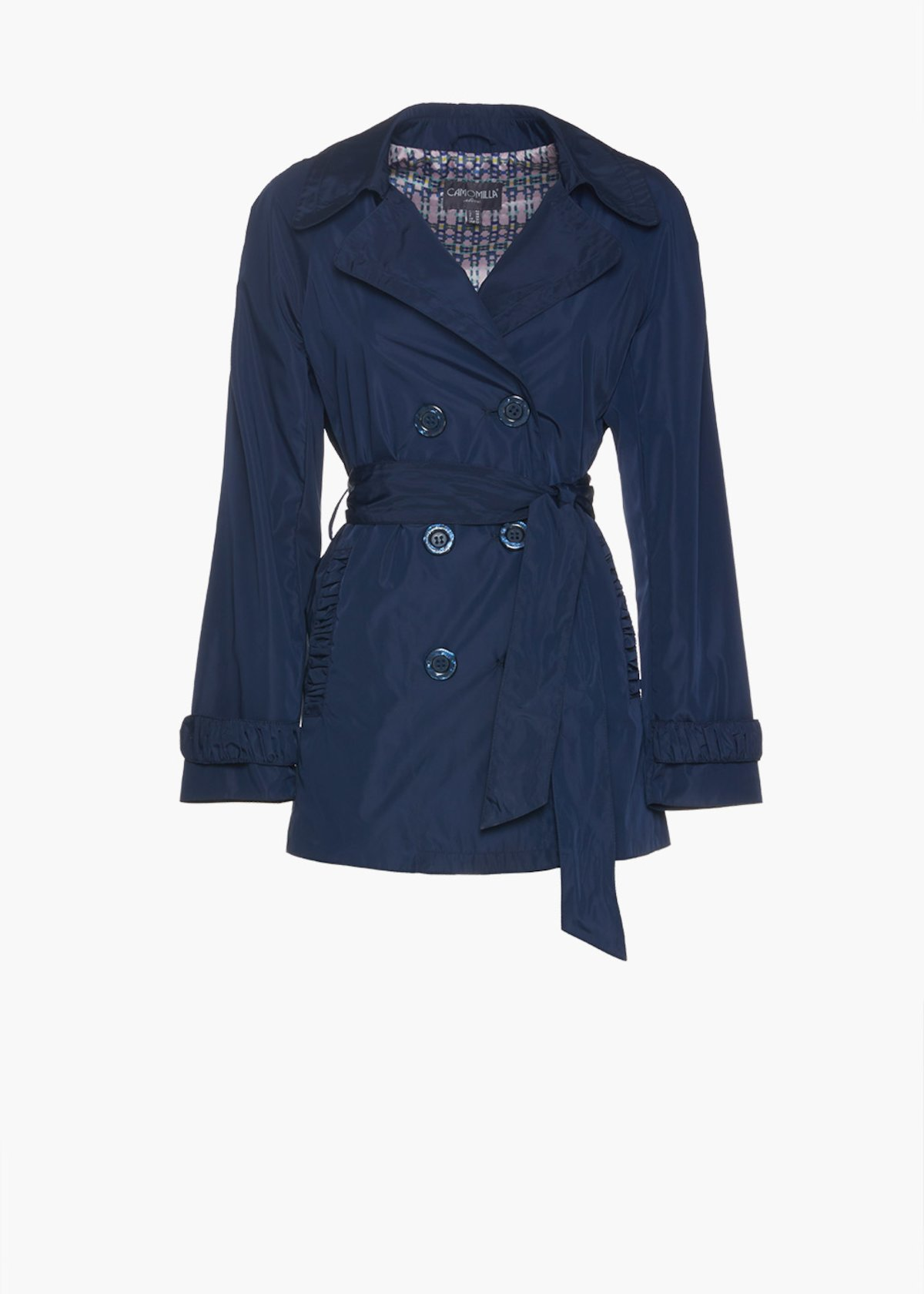 Double-breasted trench coat Teo with buttons and belt - Medium Blue - Woman
