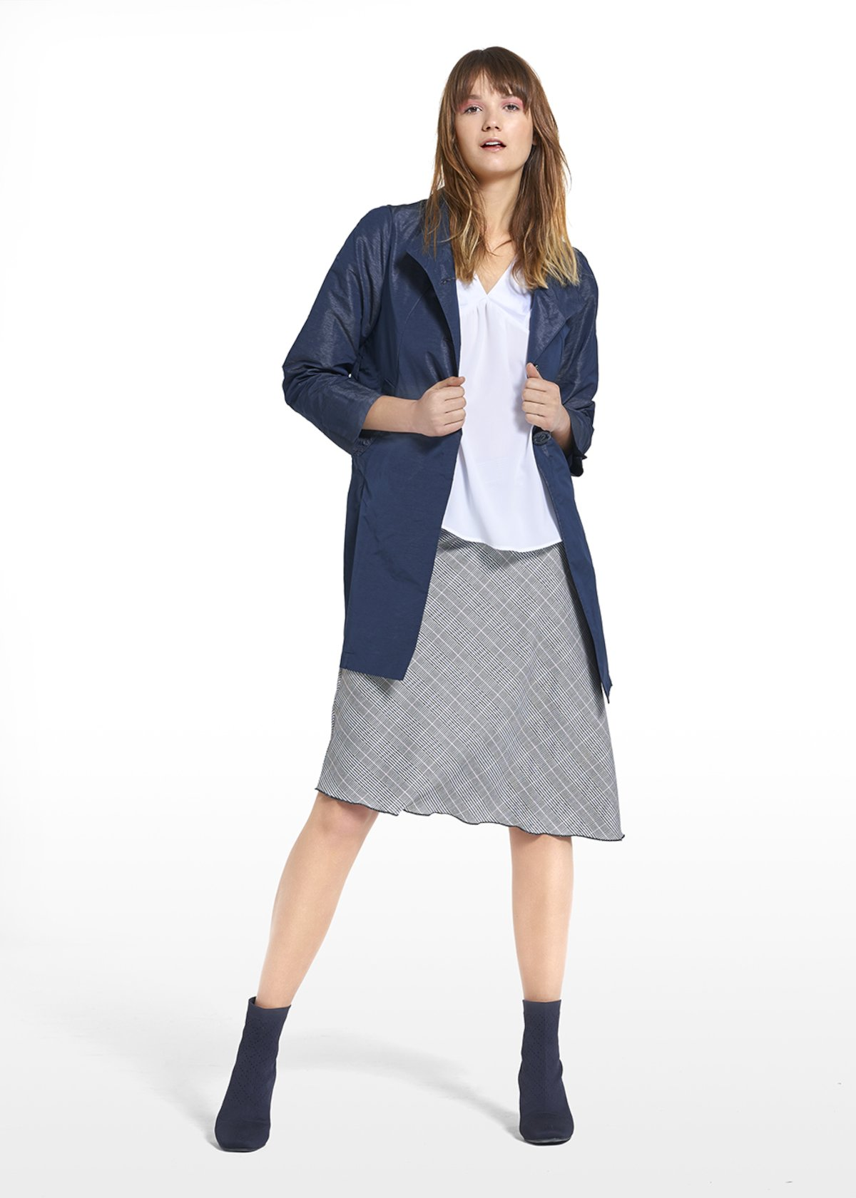 Coat Trendy in shantung fabric with high collar - Medium Blue - Woman