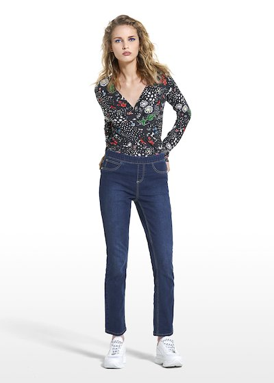 Jeggings Denis in denim con rivetti a forma di rose