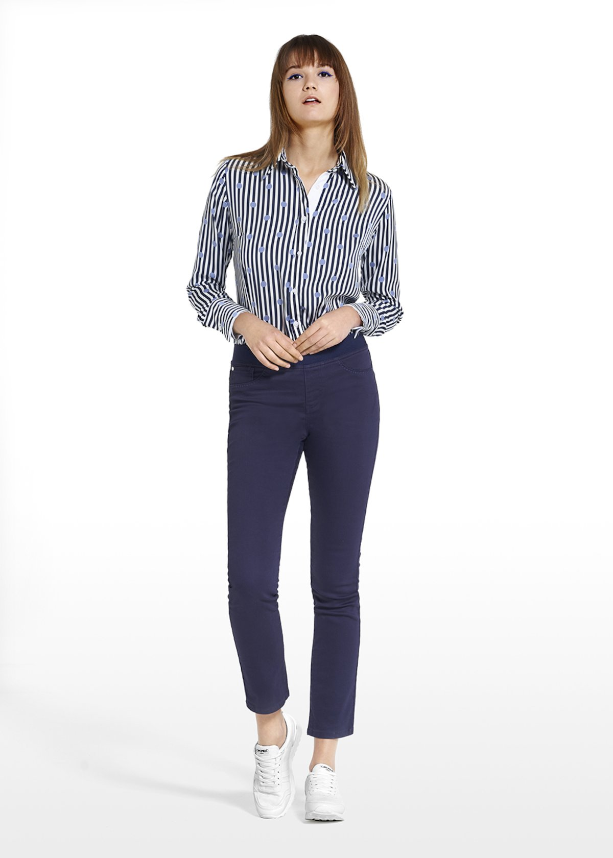 Pants Jeggins Daffy with knitted stitch around the pockets - Medium Blue - Woman