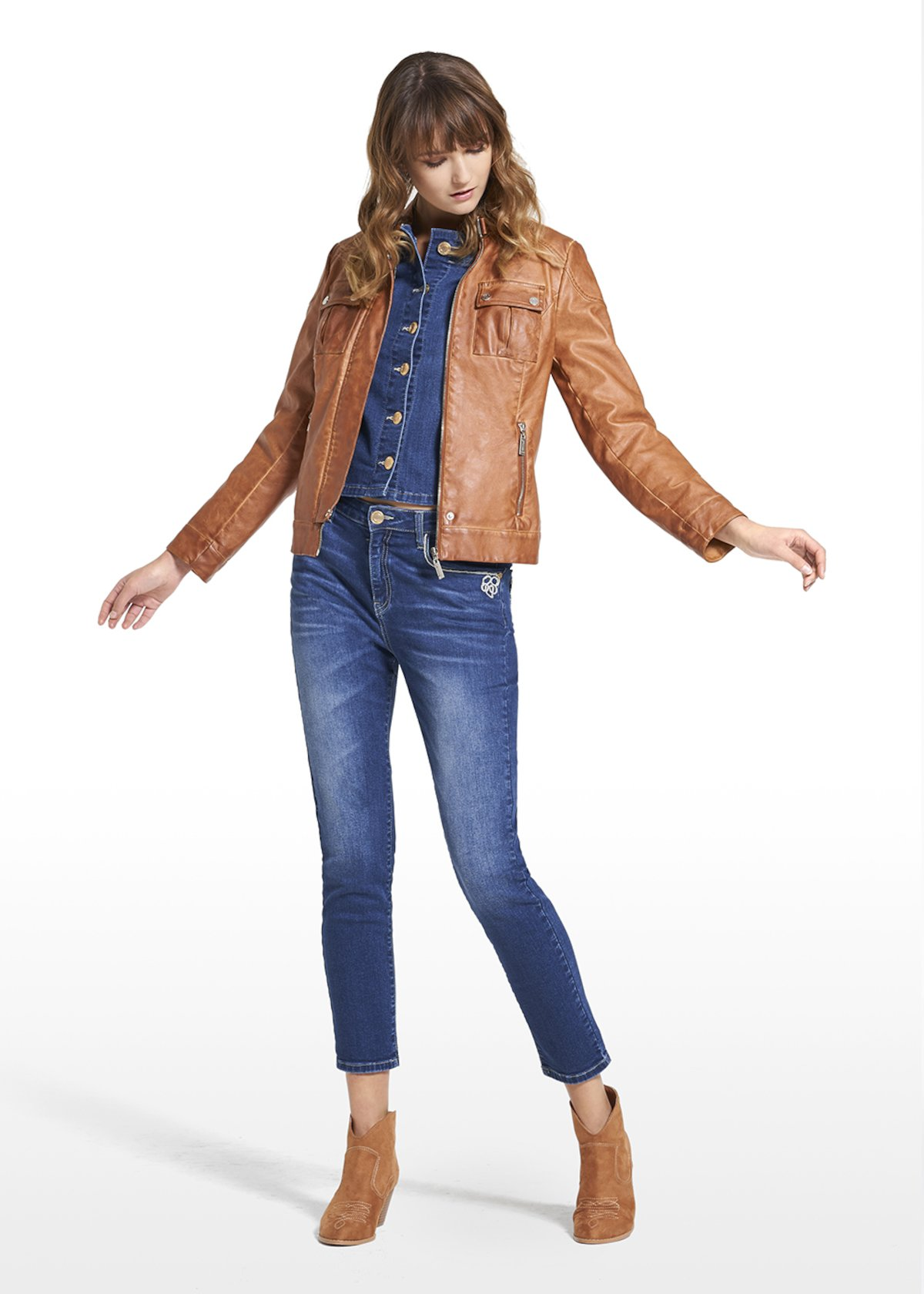 Faux leather jacket Gledis with round neck - Tobacco - Woman