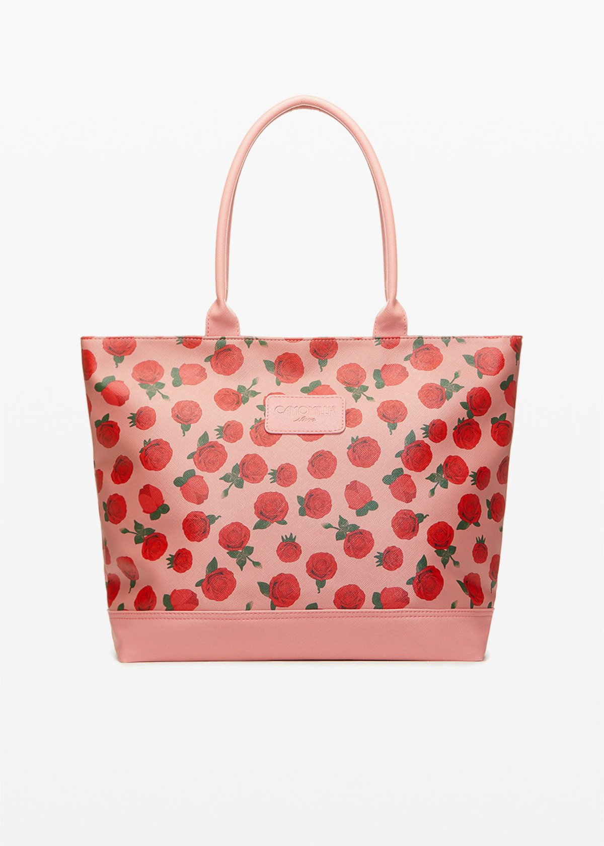 Trendros6 faux leather shopping bag with roses print - Calcite Fantasia - Woman