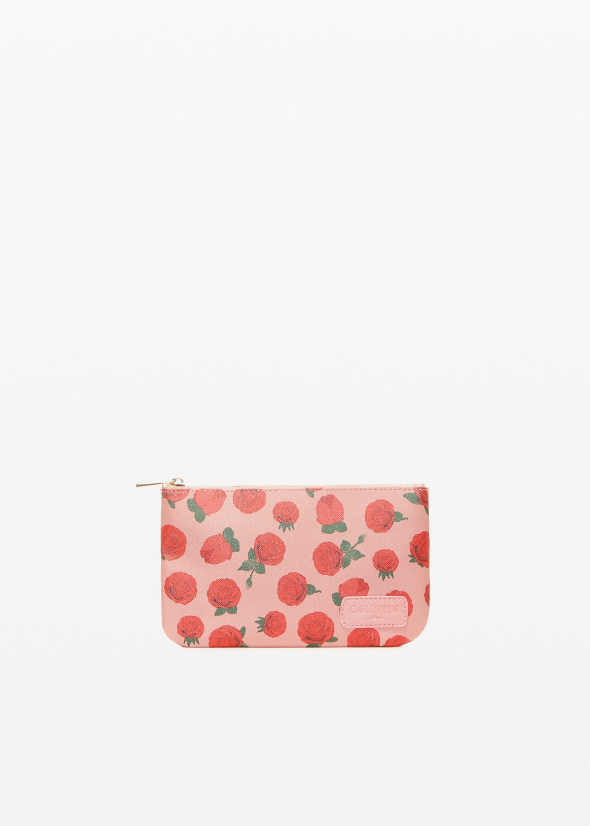 Faux leather Tonga Ros6 clutch with roses print - Calcite Fantasia - Woman