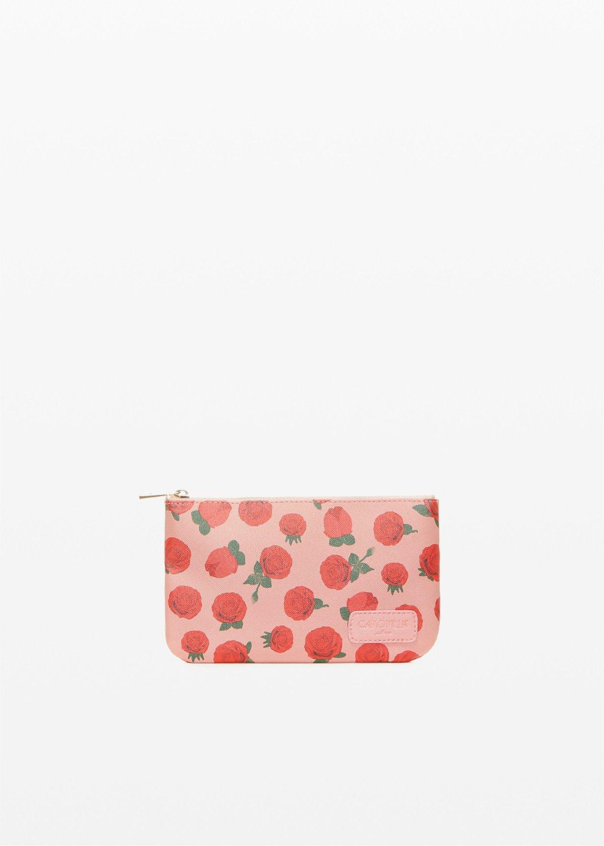 Pochette Tonga Ros6 in ecopelle stampa rose - Calcite Fantasia - Donna