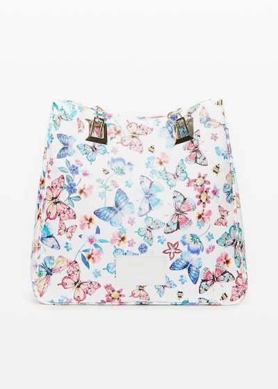 Minibufl faux leather shopping bag butter-flowers print