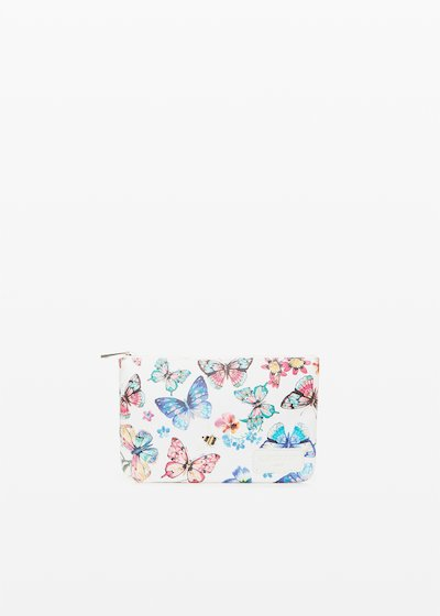 Tongbutfl faux leather small bag butter-flowers print