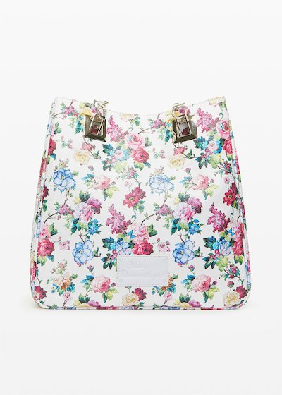 Mmissflo1 faux leather Shopping bag with floral print