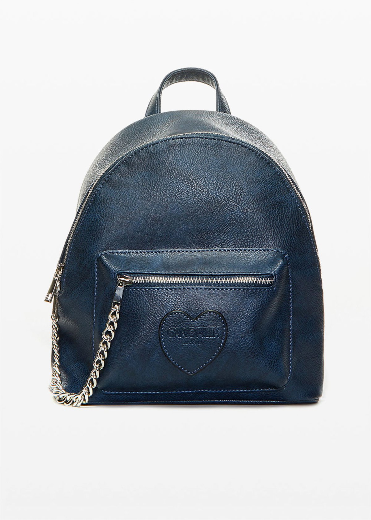 Faux leather Brash backpack with metal chain - Medium Blue - Woman