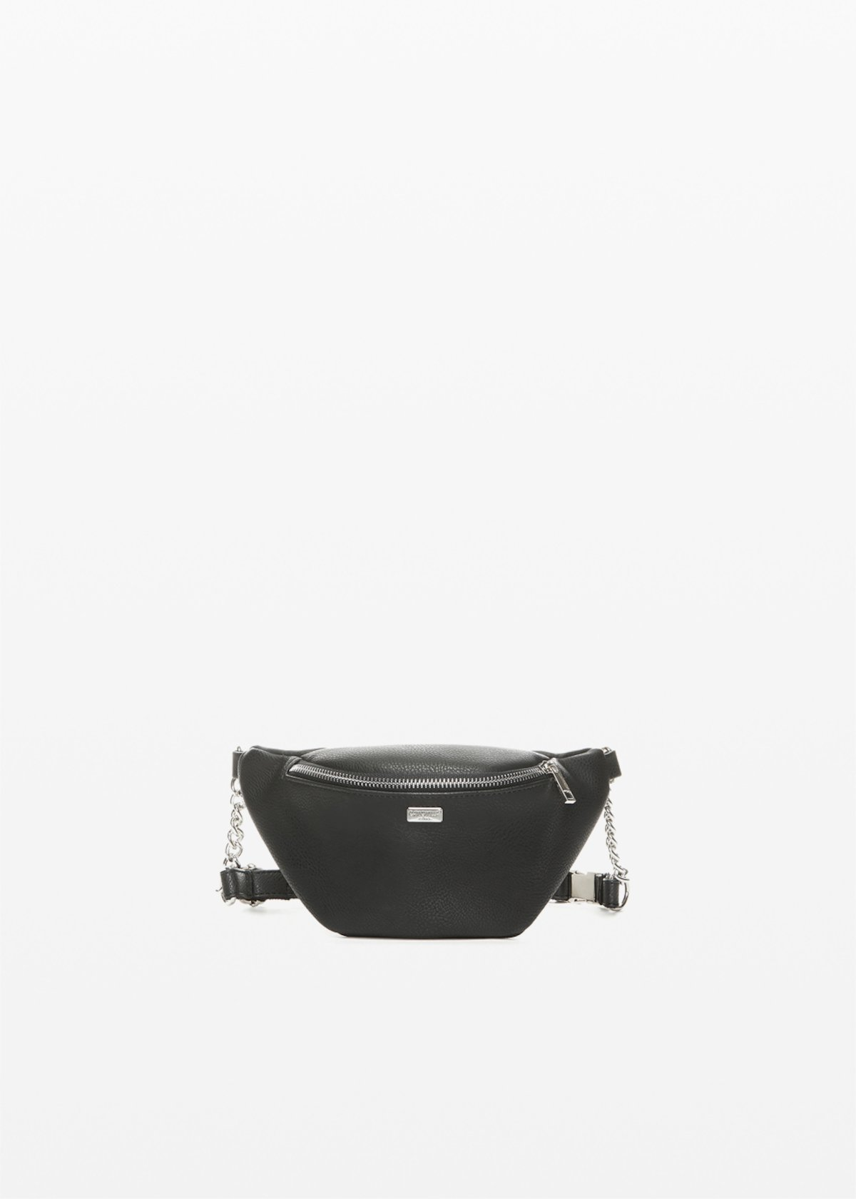 Breshi faux leather waist bag with metal chain detail.