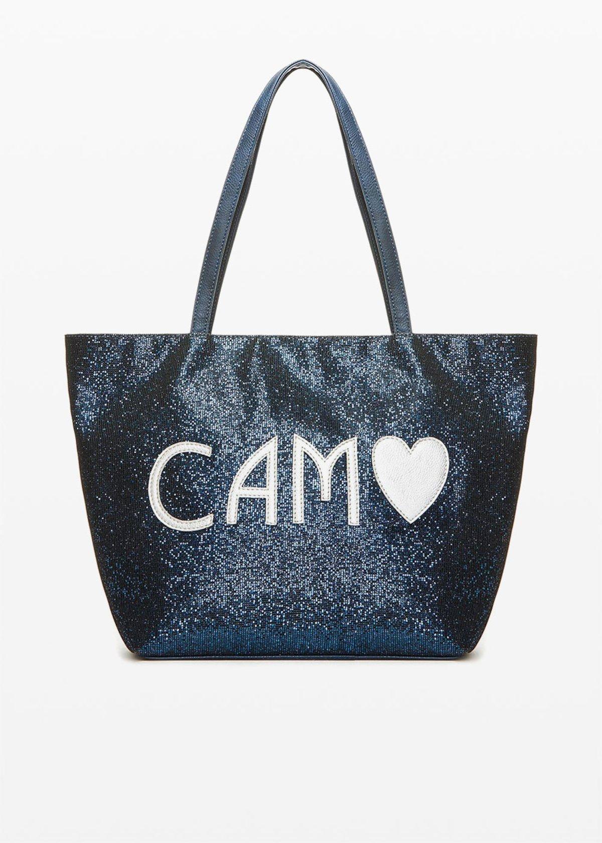 Bondy Shopping bag in sparkling material - Medium Blue - Woman