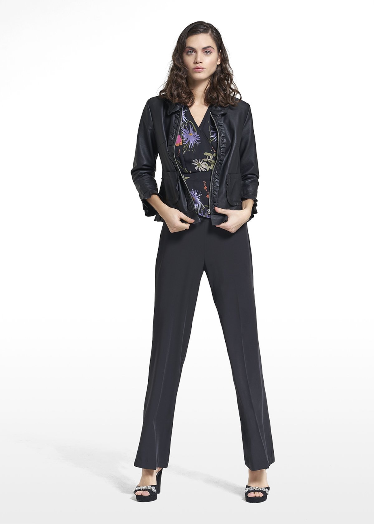 Faux leather jacket Grace with collar and flounces at the bottom - Black - Woman