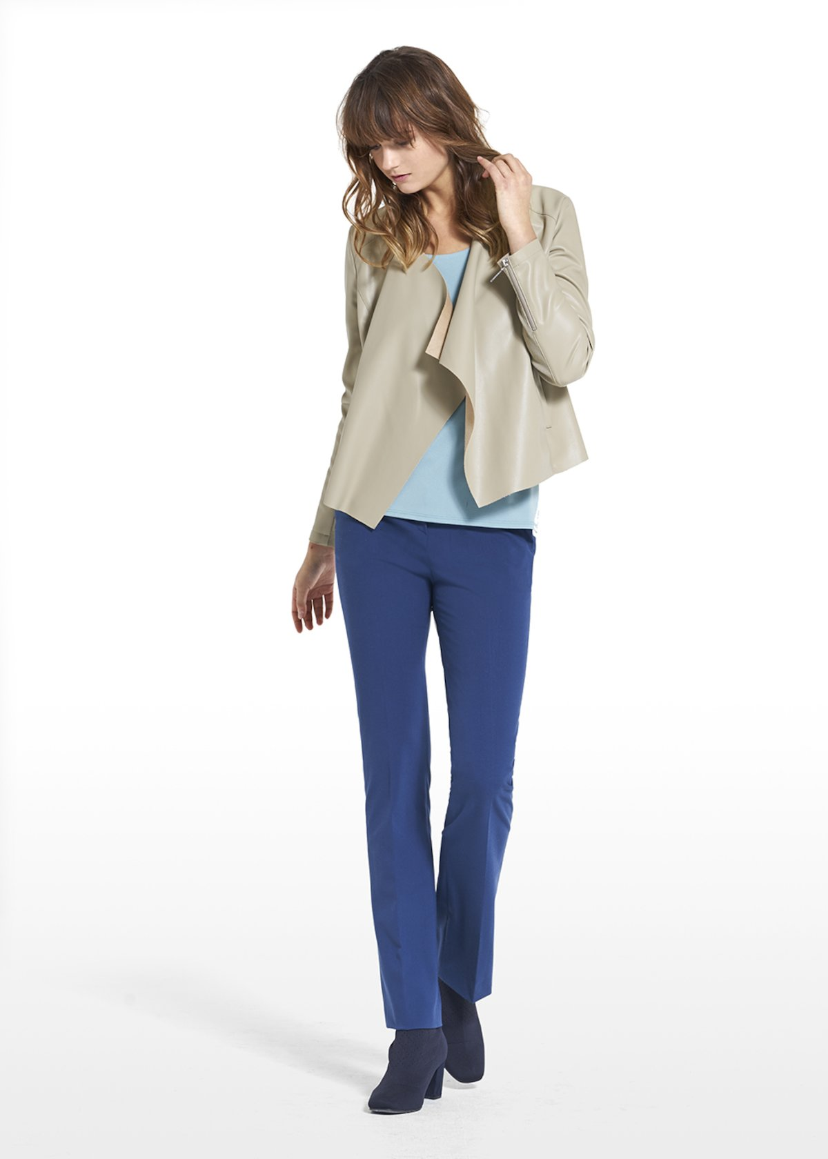 Faux leather Celyon with metal zipper on the sleeves - Sage Green - Woman