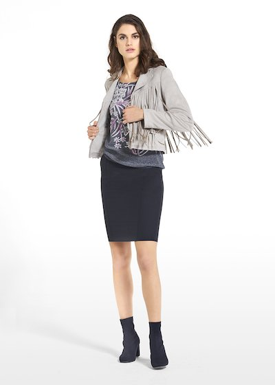 Eco-suede jacket Callie with fringes on the front and back