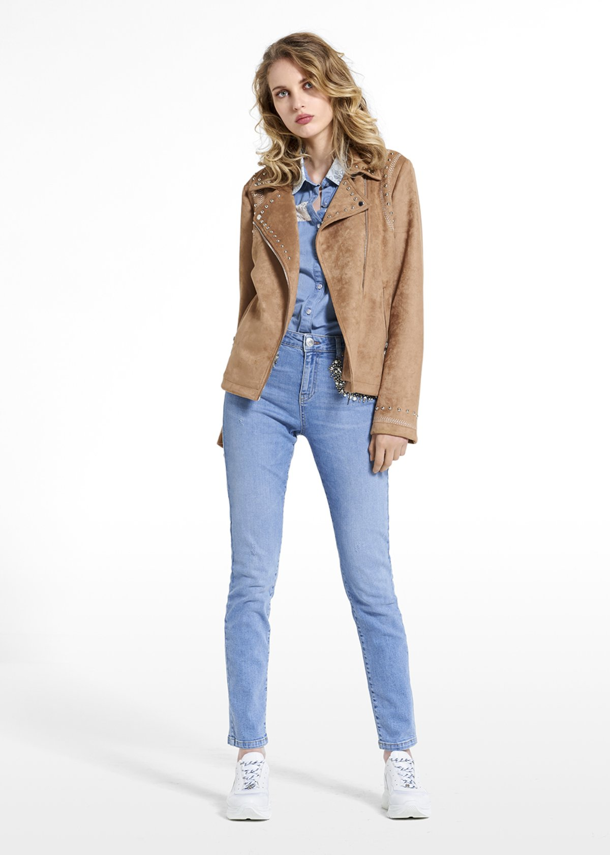 Eco-suede jacket Gliz with rivets and asymmetric zipper - Tobacco - Woman