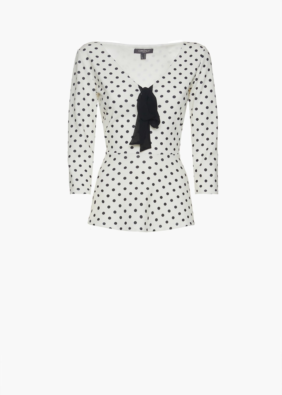 Sarik t-shirt with polka dot print and bow on the neck - White / Black Pois - Woman