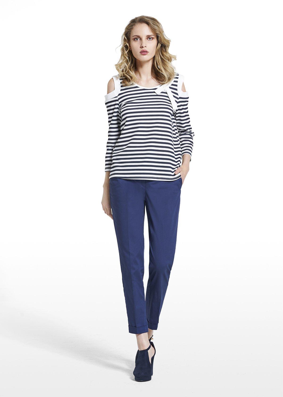 Scherry T-shirt fantasy stripes with bow - Black / White Stripes - Woman