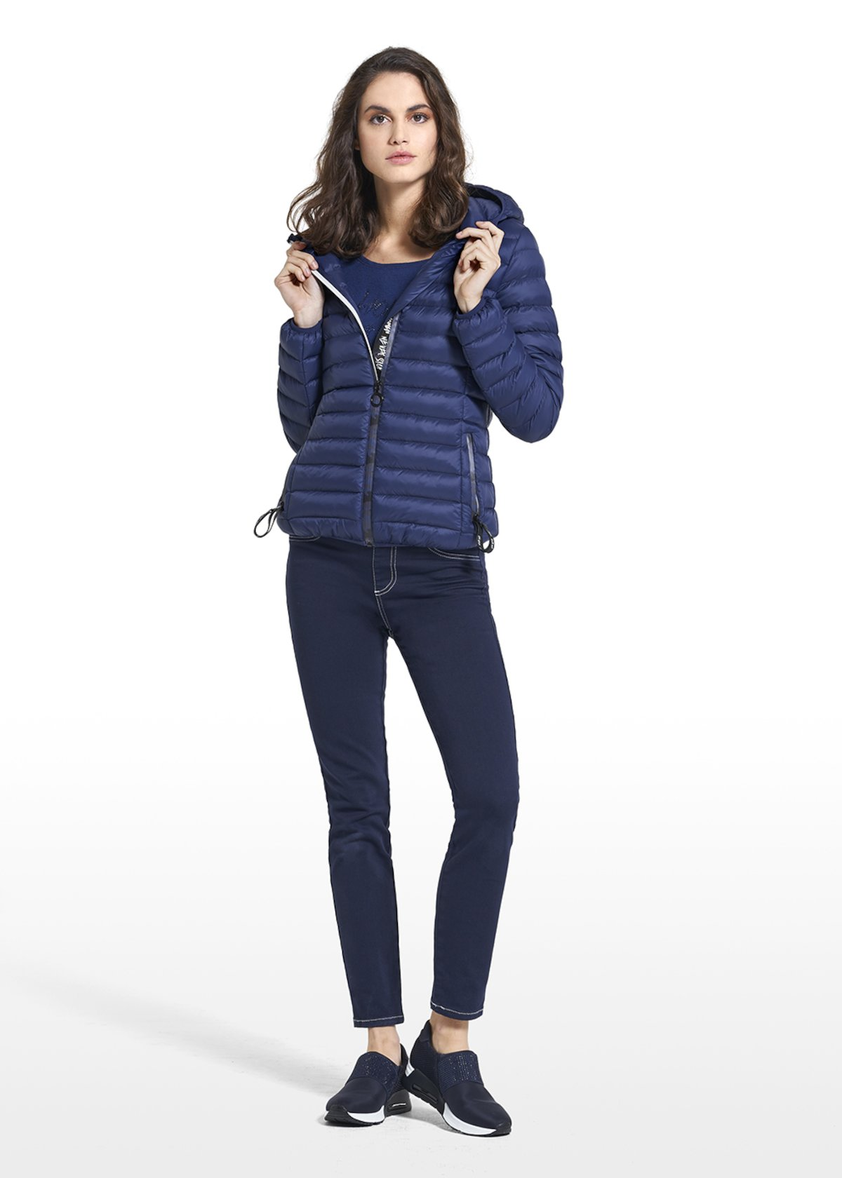 Down jacket in nylon Philis with hood and central zipper - Medium Blue - Woman