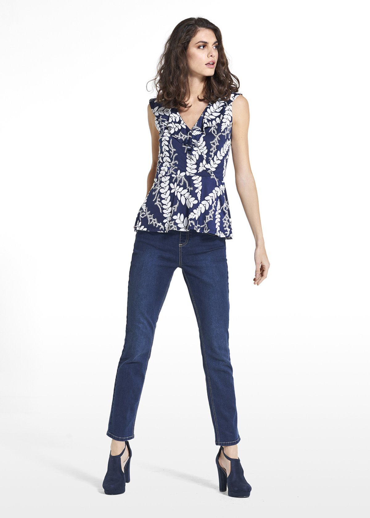 Top Trixy in jersey with rouces on the neckline - Blue / White Fantasia - Woman
