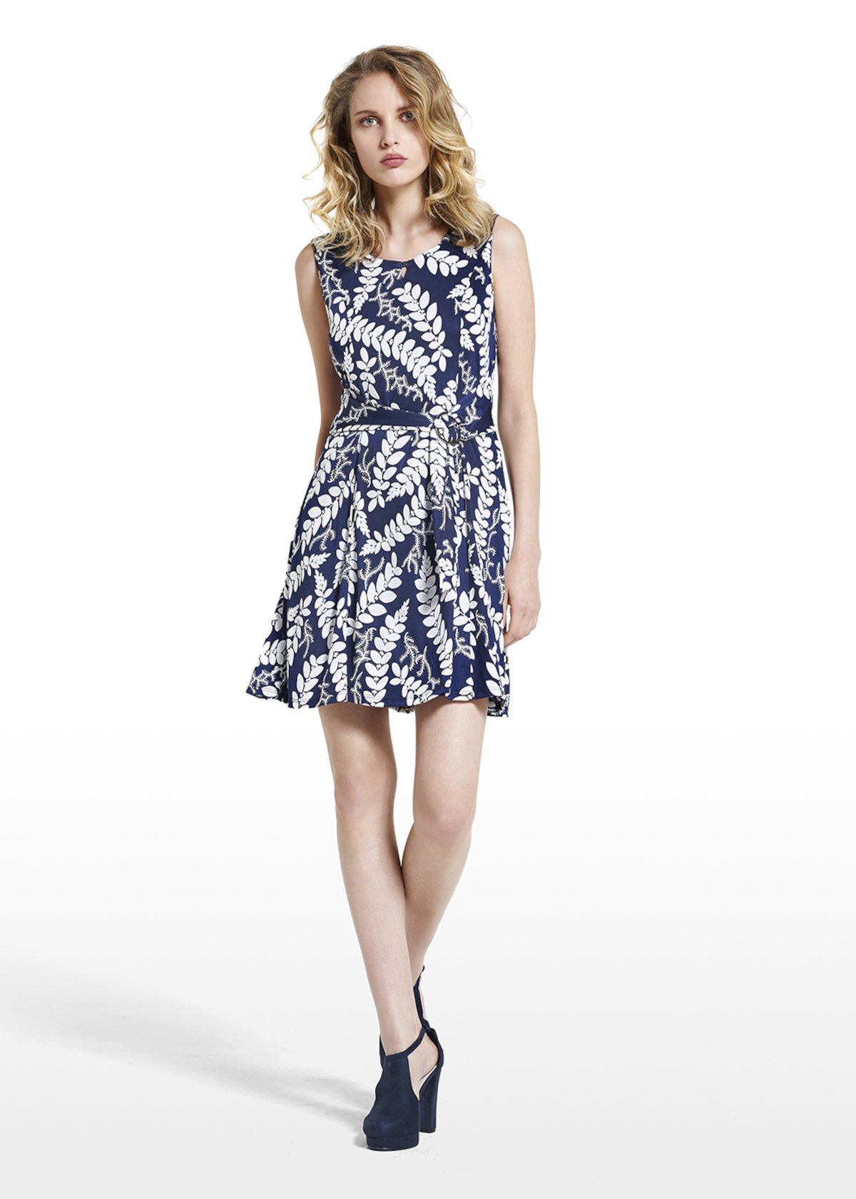 Dress Abram with 3/4 slevees and belt at the waist - Blue / White Fantasia - Woman