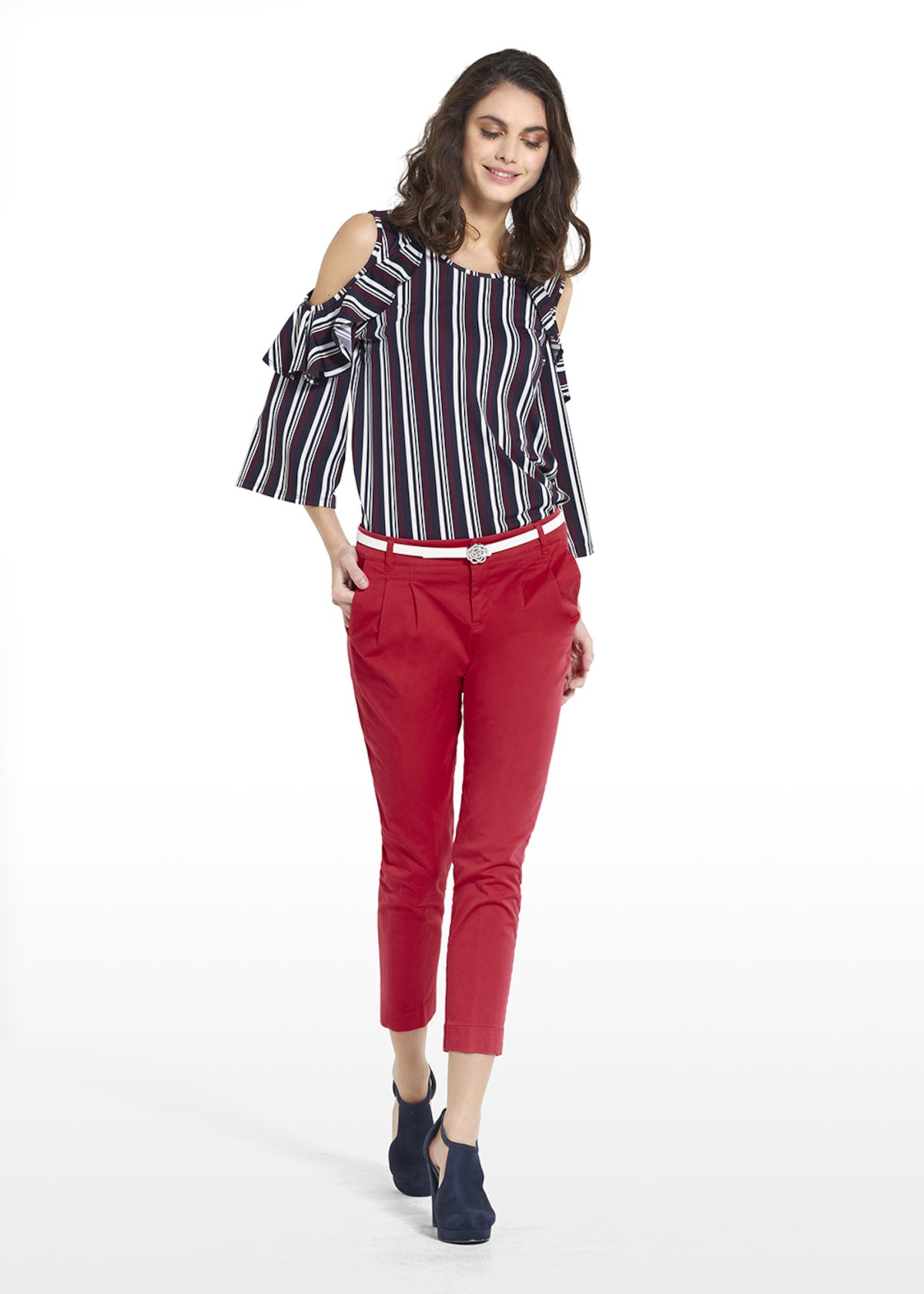 T-shiry Sakuel in jersey crêpe with cut on the shoulders - Dark Blue /  Ciclamino Stripes - Woman