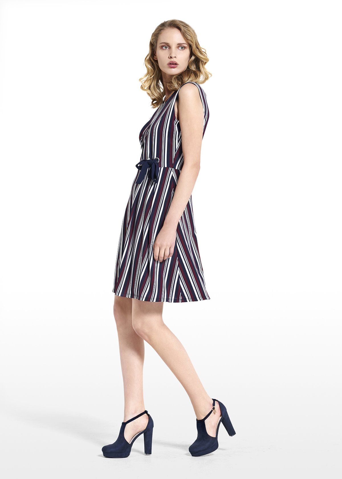 Dress Acros in jersey crêpe sleeveless - Dark Blue /  Ciclamino Stripes - Woman