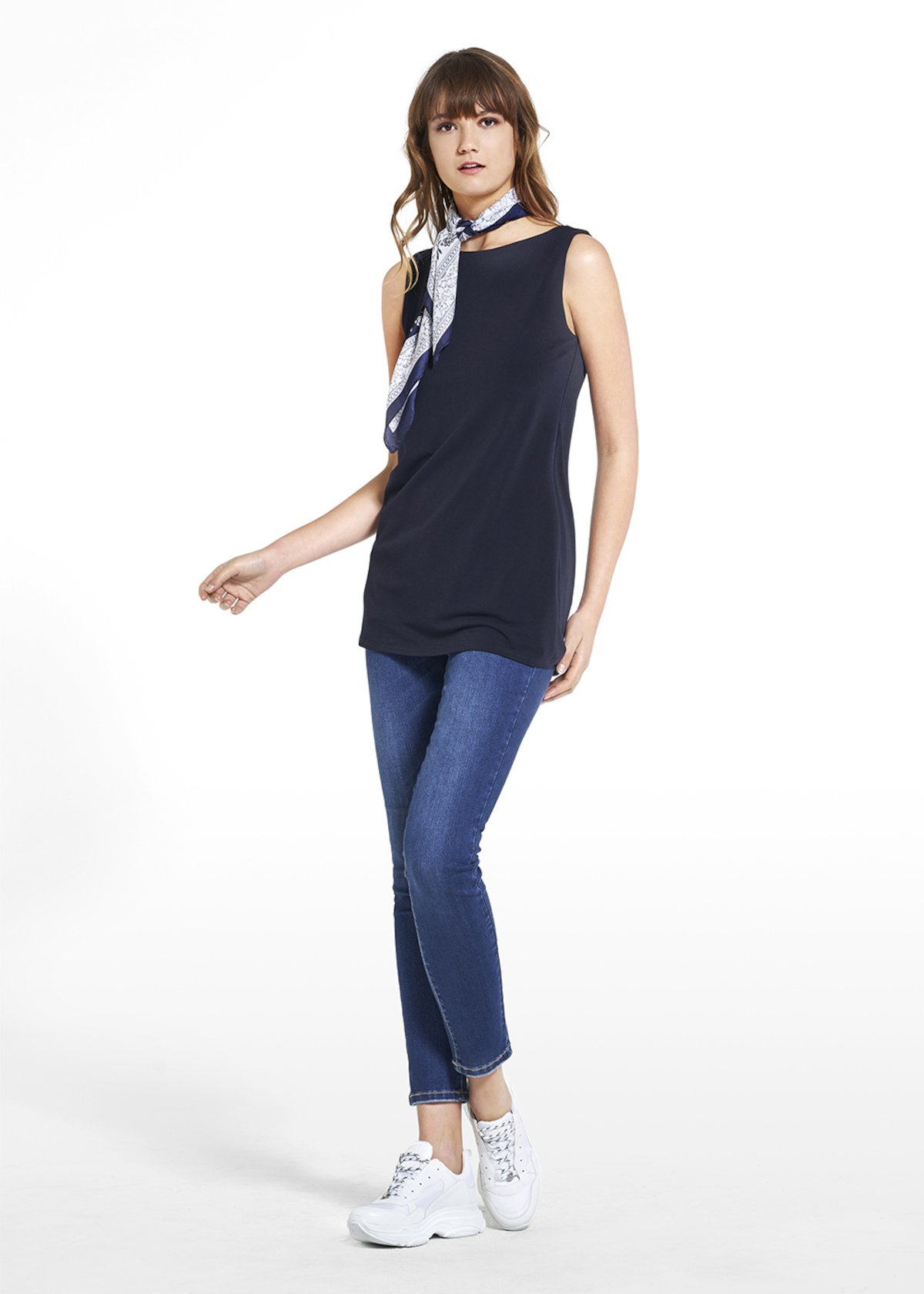 Top Thiago with boat neckline - Medium Blue - Woman