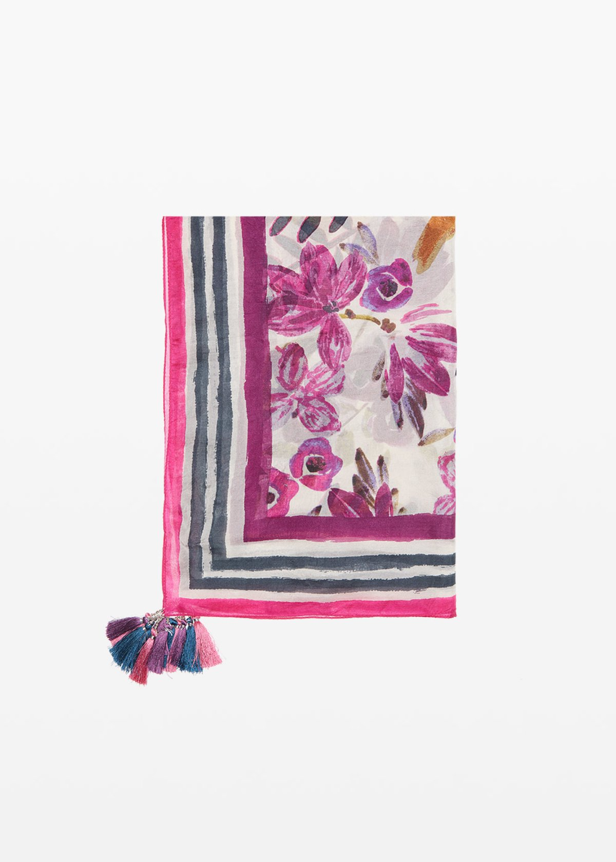 Shira silk scarf - Hibiscus / White Fantasia - Woman